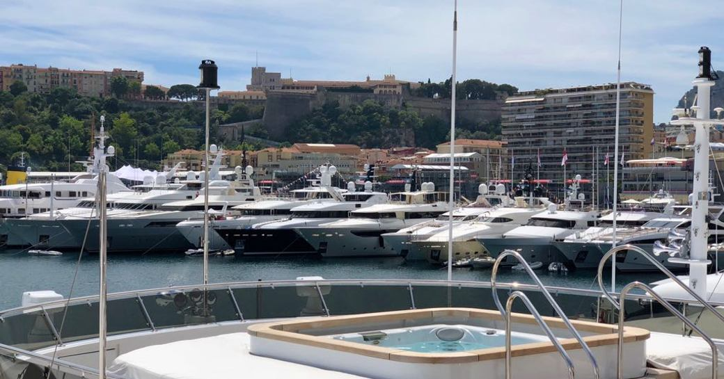 A Jacuzzi overlooking the yachts at Port Hercules