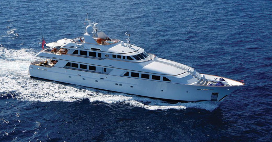 superyacht lady j cruising the clear blue waters of the Virgin Islands