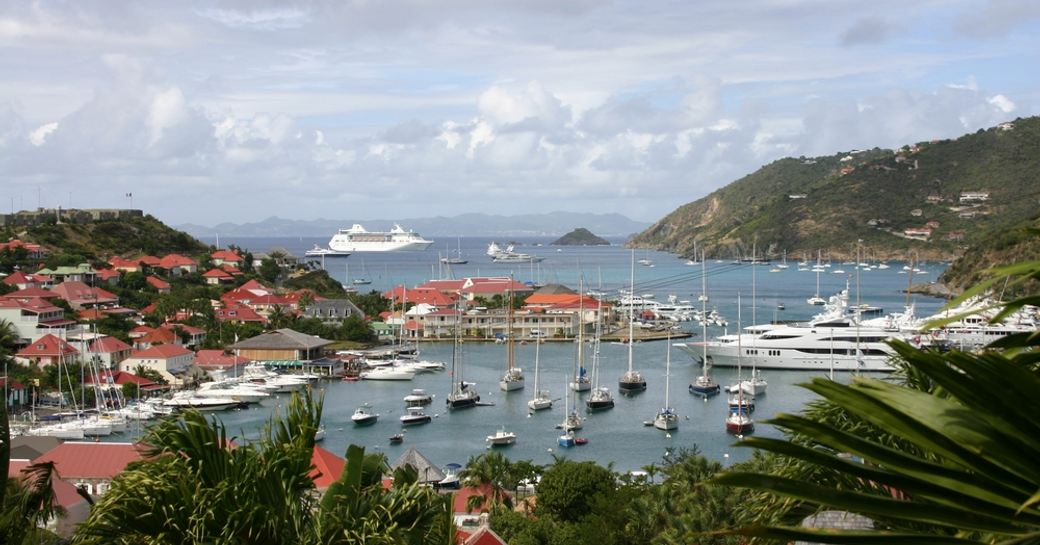 superyachts berthed in gustavia port in st barts