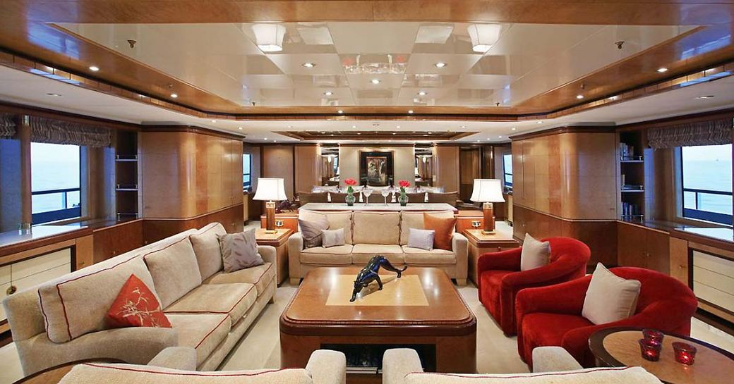 warm and welcoming main salon with sumptuous lounge on board superyacht JAGUAR