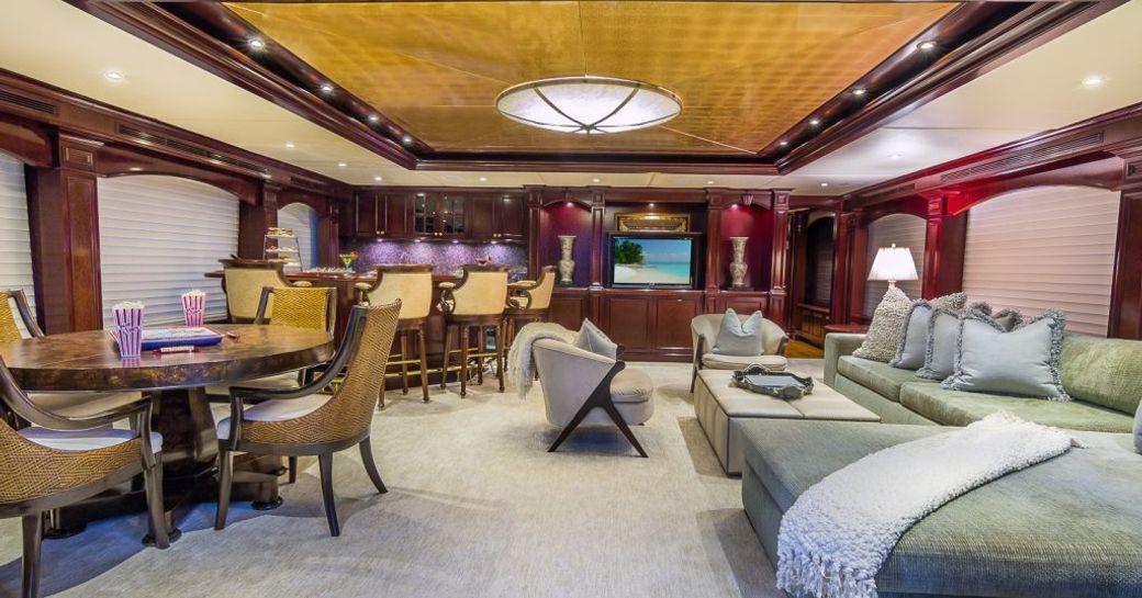 Main salon on motor yacht CLAIRE