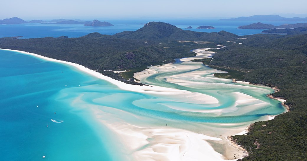 Whitsundays Islands in Australia, blue sea and sandbars as seen from above