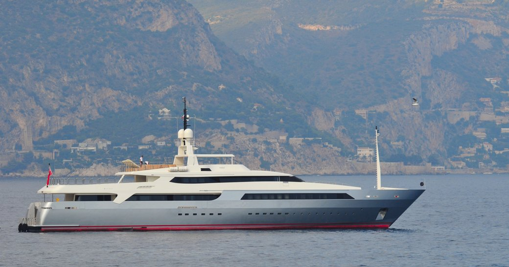 A profile view of superyacht VICKY