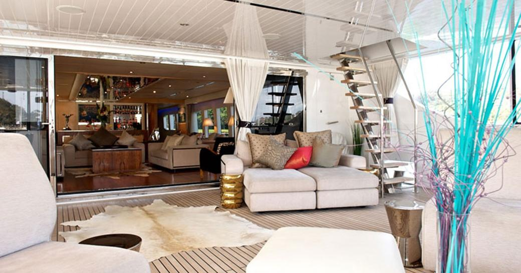 luxury charter yacht tango seating area aft deck