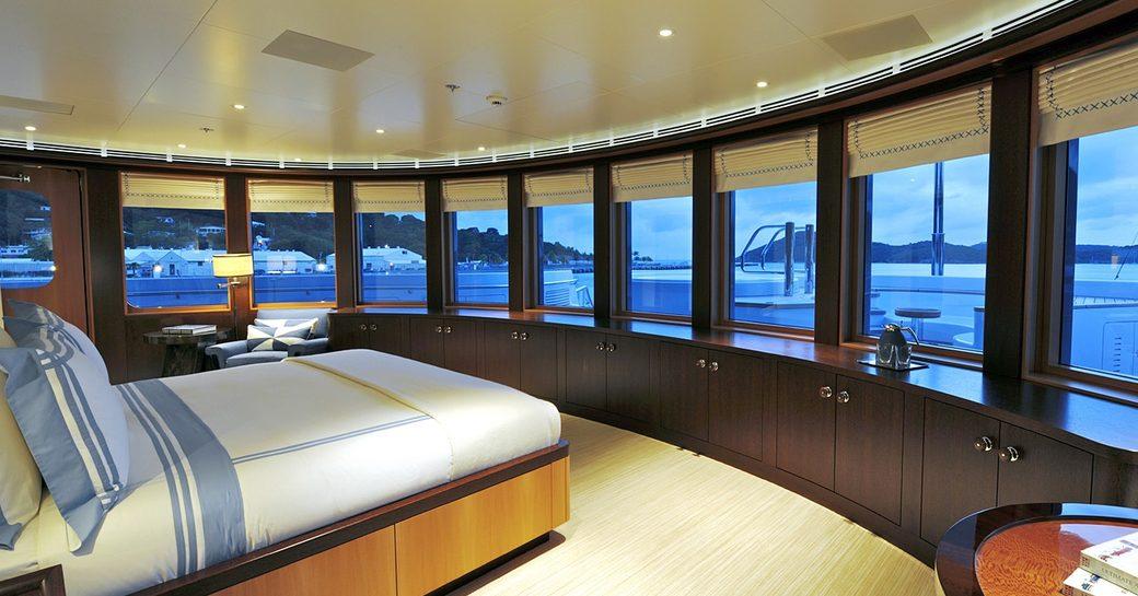 TV's master stateroom with panoramic views