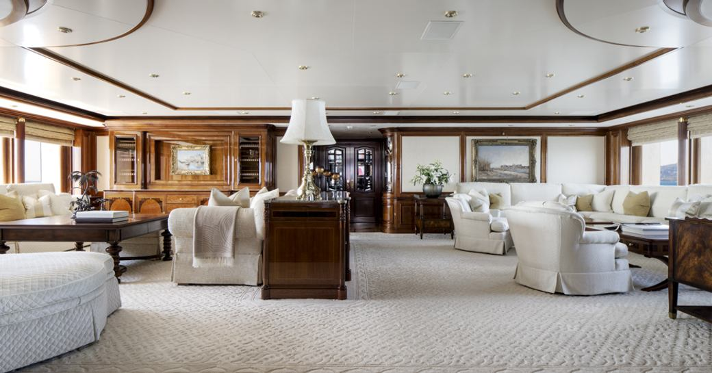 grand and classical main salon on board luxury yacht TITANIA