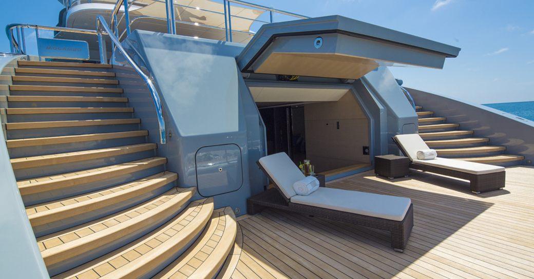 sun loungers on the swim platform of superyacht Mogambo