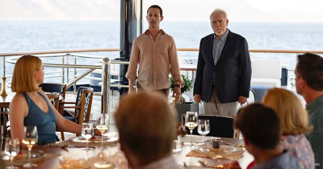 Roy family from SUCCESSION on board SOLANDGE yacht during season 2 finale
