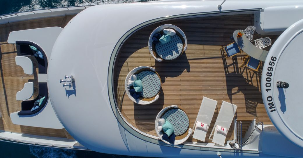 View from above of Superyacht BACA with comfortable seating and sun loungers