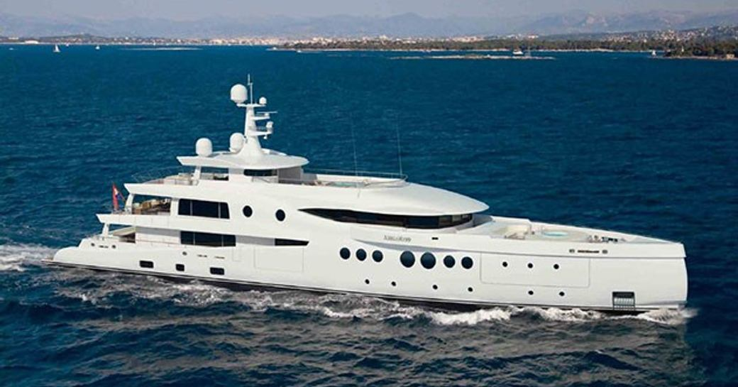 rendering of amels yacht 206 underway