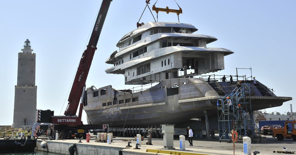 the top three decks of the new benetti superyacht ALKHOR at their shipyard in Livoro