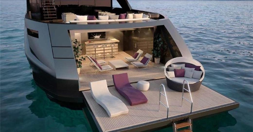 rendering of fold-down beach club on board charter yacht SARASTAR