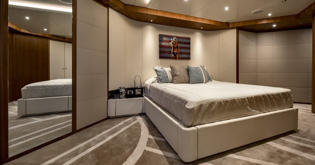 Large cabin with double bed on superyacht RARITY