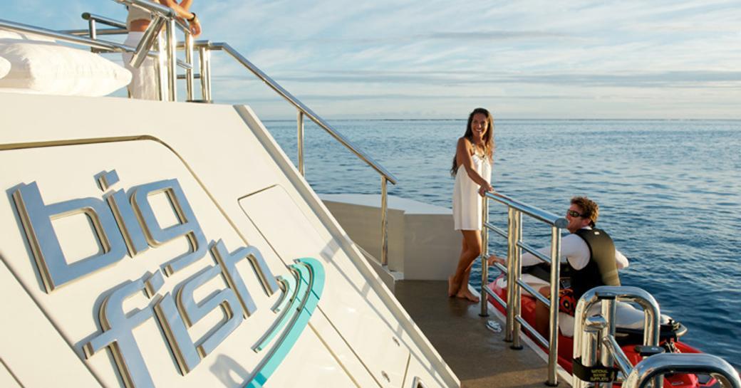 Boarding a tender on motor yacht BIG FISH