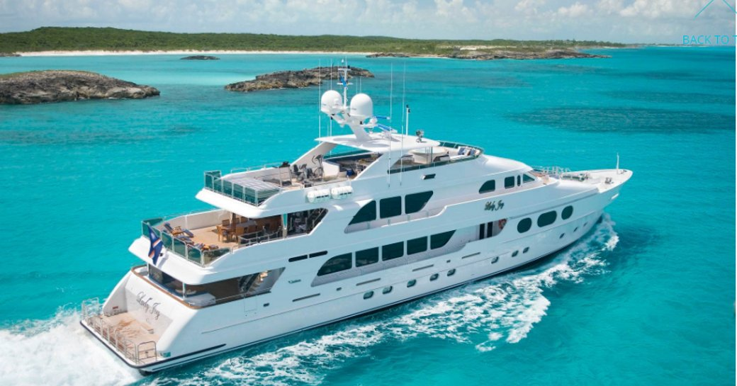 motor yacht Lady Joy cruising on a luxury yacht charter in the Bahamas