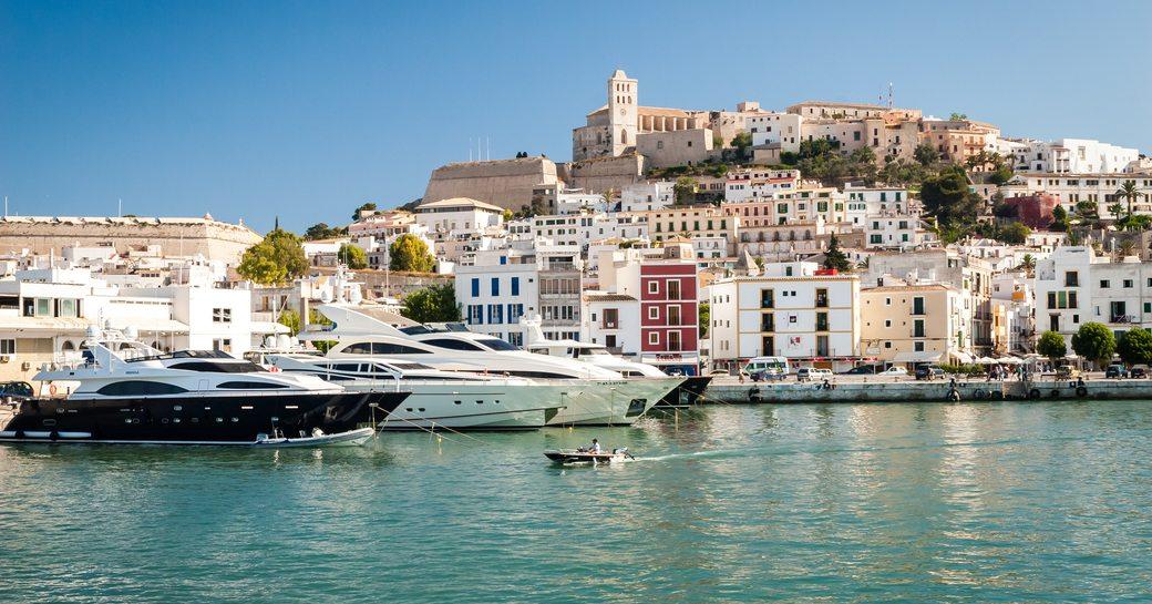 Superyachts docked in Ibiza
