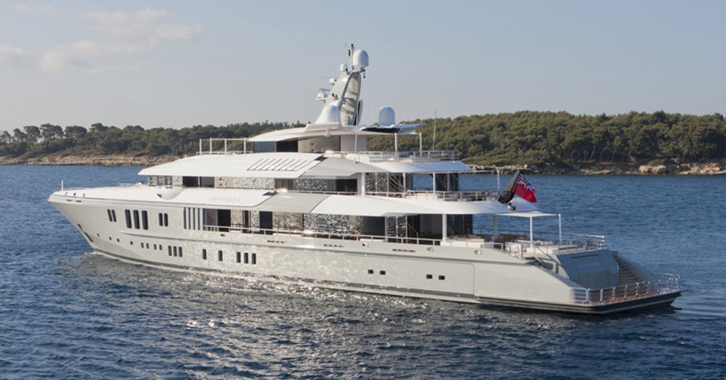 superyacht Mogambo cruising on a luxury yacht charter in the Maldives