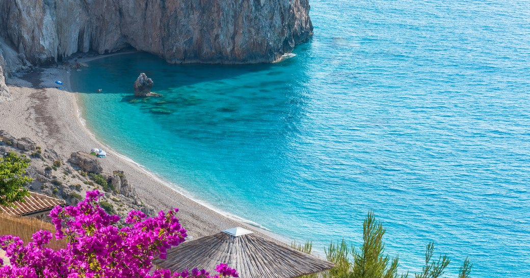 View over Milos beach in Greece