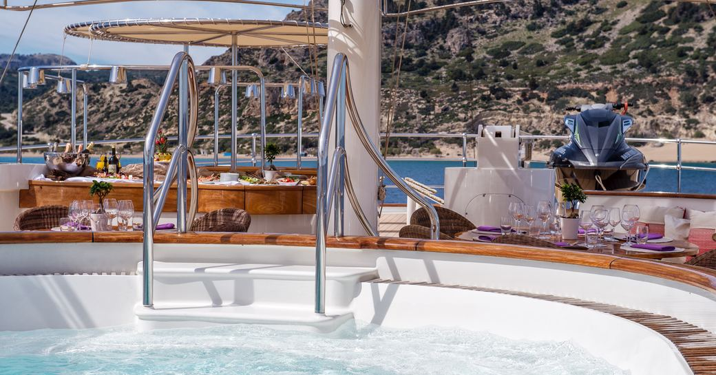 Eight person spa pool on board superyacht SHERAKHAN
