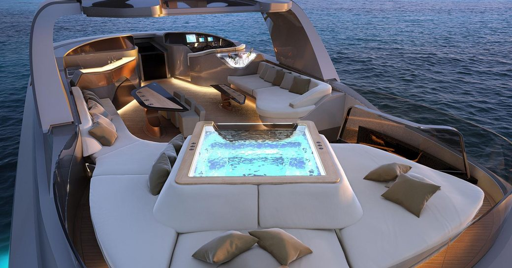 five person jacuzzi on adamas 6 with sunpads