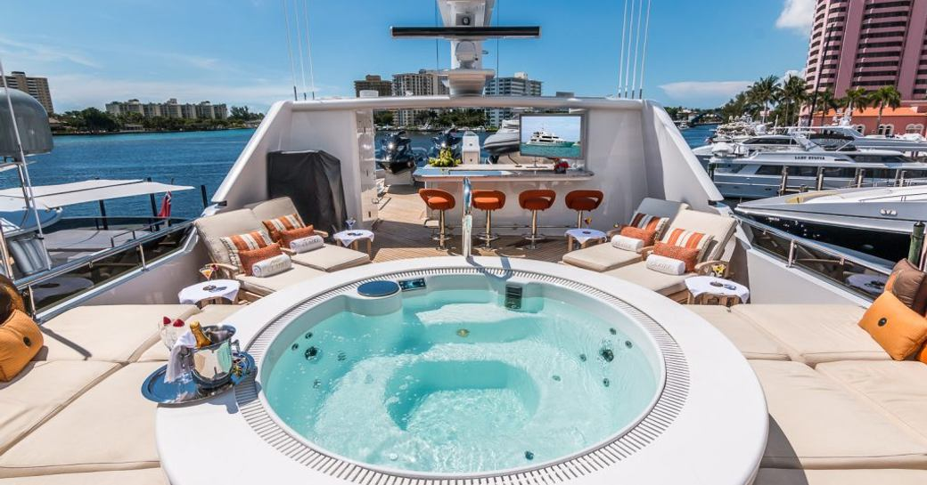 CLAIRE luxury yacht sundeck, with jacuzzi pool and sunpads