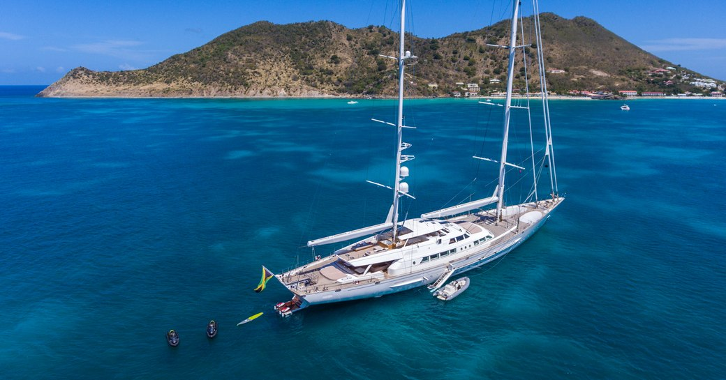 Luxury sailing yacht at anchor in Greece with water toys