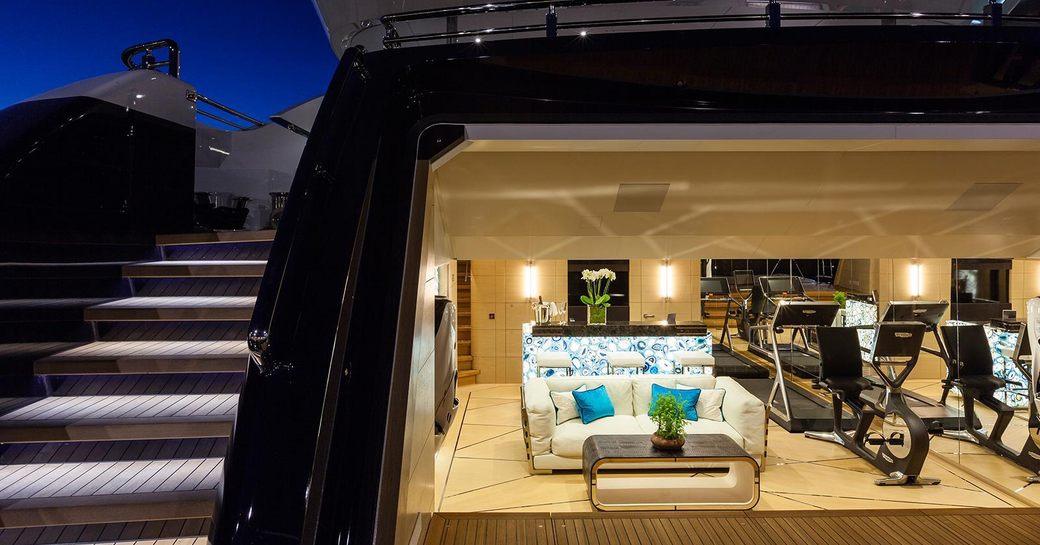 Lady Li yacht beach club with gym set-up and swim platform