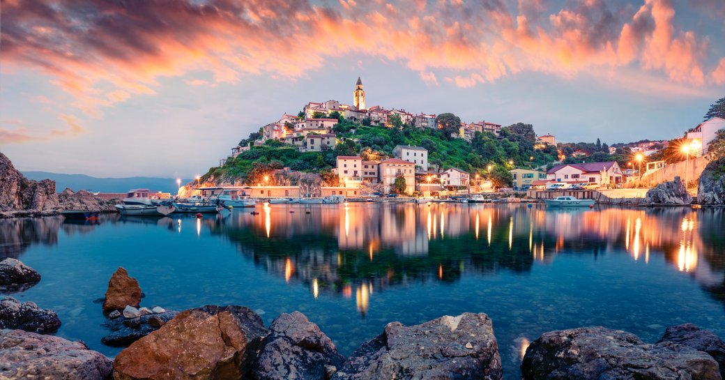 Croatia island with houses at dusk