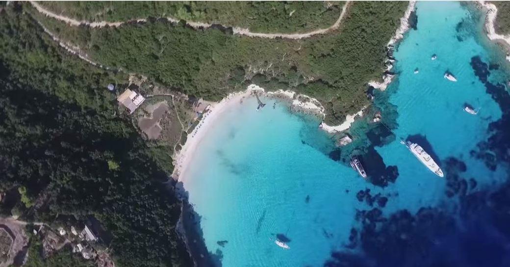 Ariel view of a beach in Greece