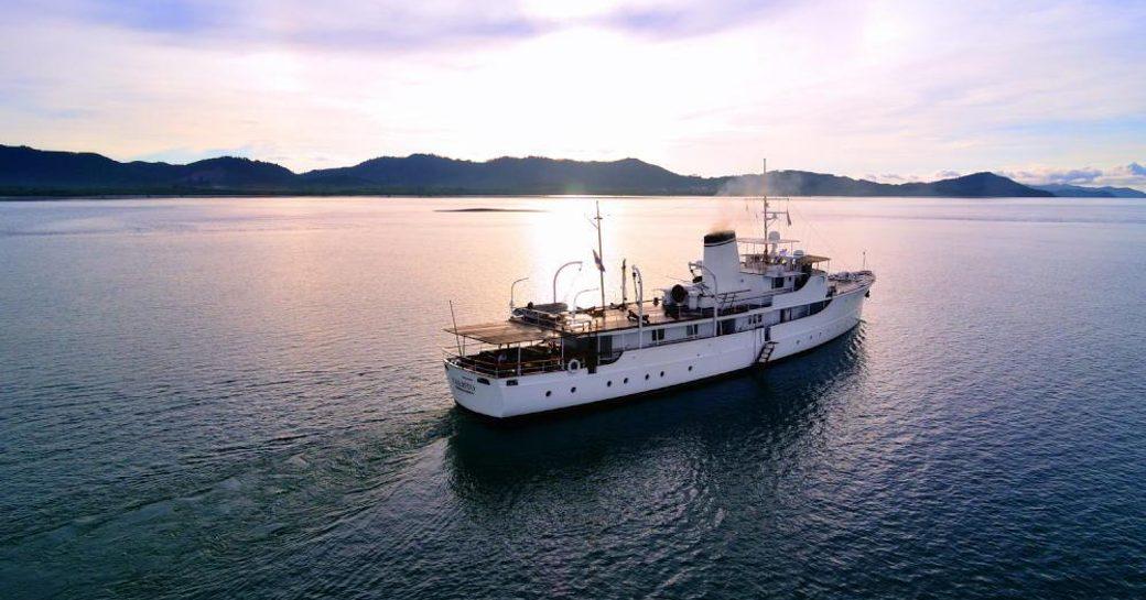 Luxury charter yacht CALISTO at sunset