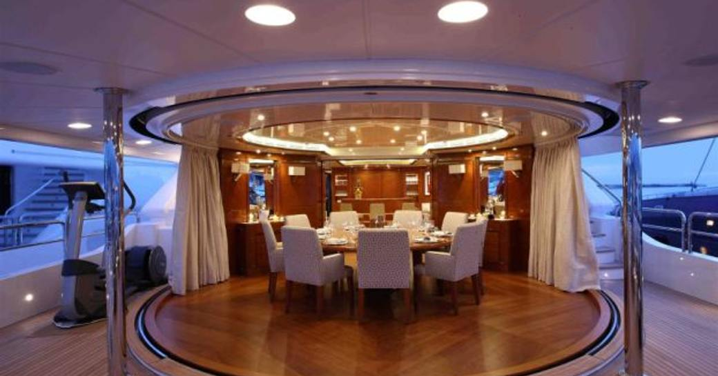 Dining area onboard MY Harmony lll
