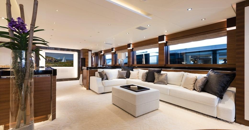 The main salon of luxury yacht 'Silver Wind'
