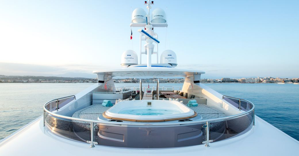 Jacuzzi and sun pads on sundeck of motor yacht BLUSH