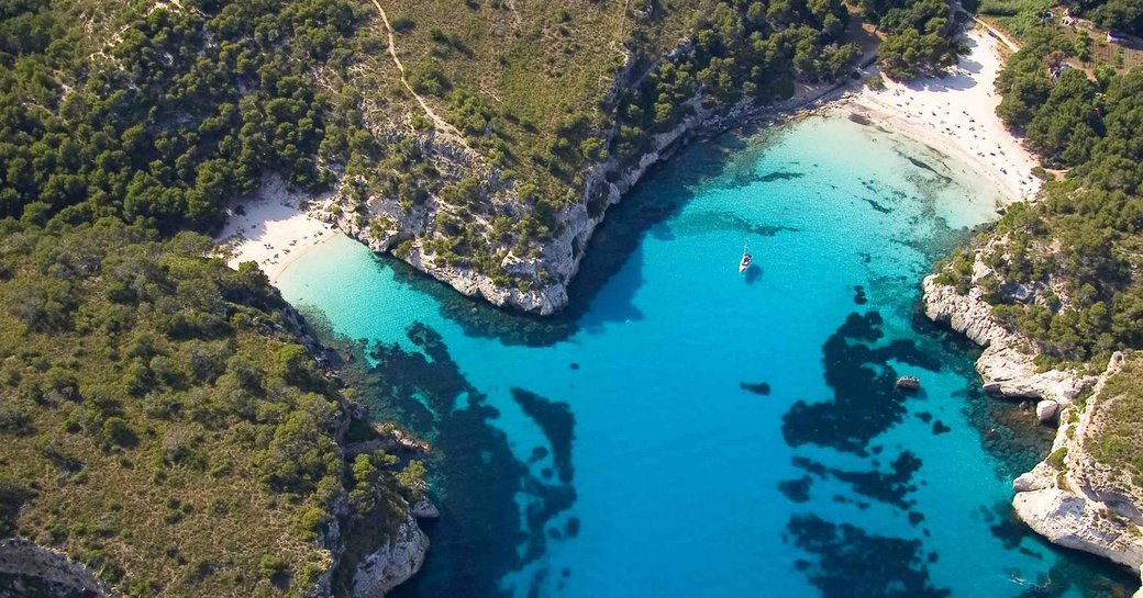 overhead view of Bozcaada in Aegean waters of Turkey