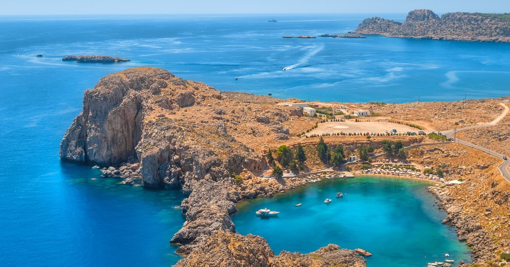 aerial view over islands of greece, the perfect destination for a yacht charter