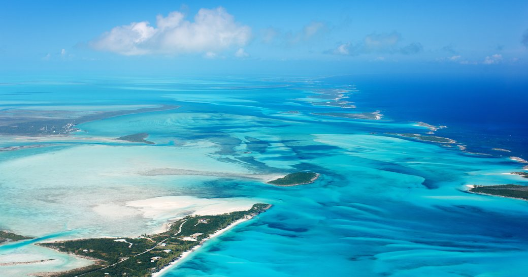 Sand banks and clear blue water in the Bahamas