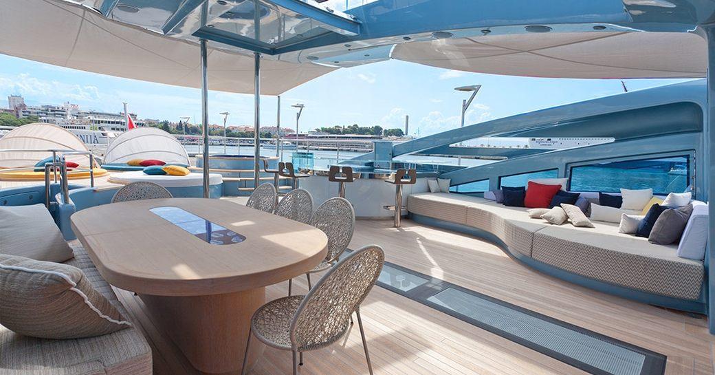 Alfresco dining area and Jacuzzi beyond on flybridge of motor yacht Philmi