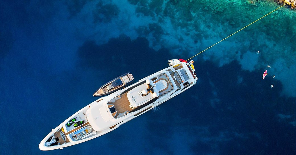 aerial image of superyacht in greece
