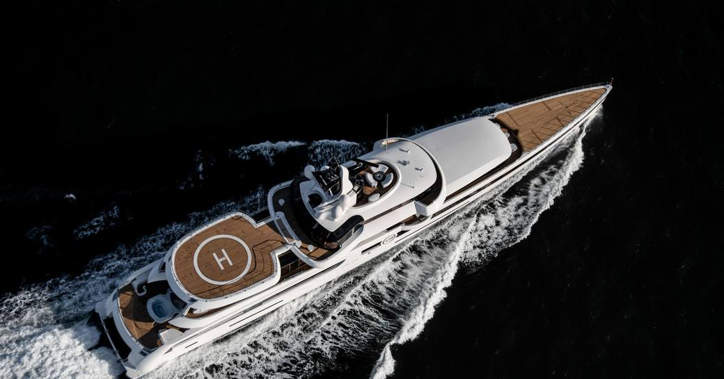 Superyacht Lady S from Feadship aerial shot while underway