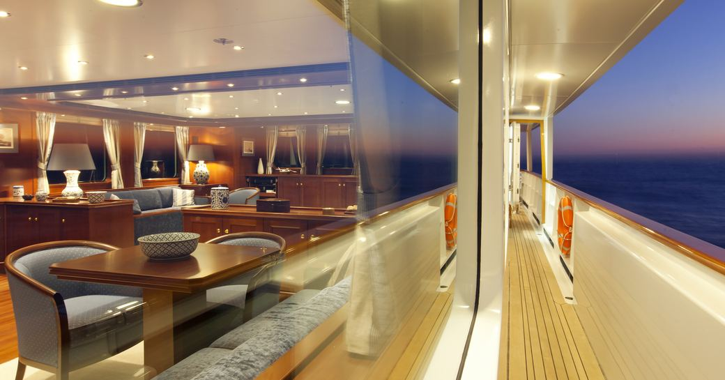 View from side deck of main salon on luxury yacht Axantha II
