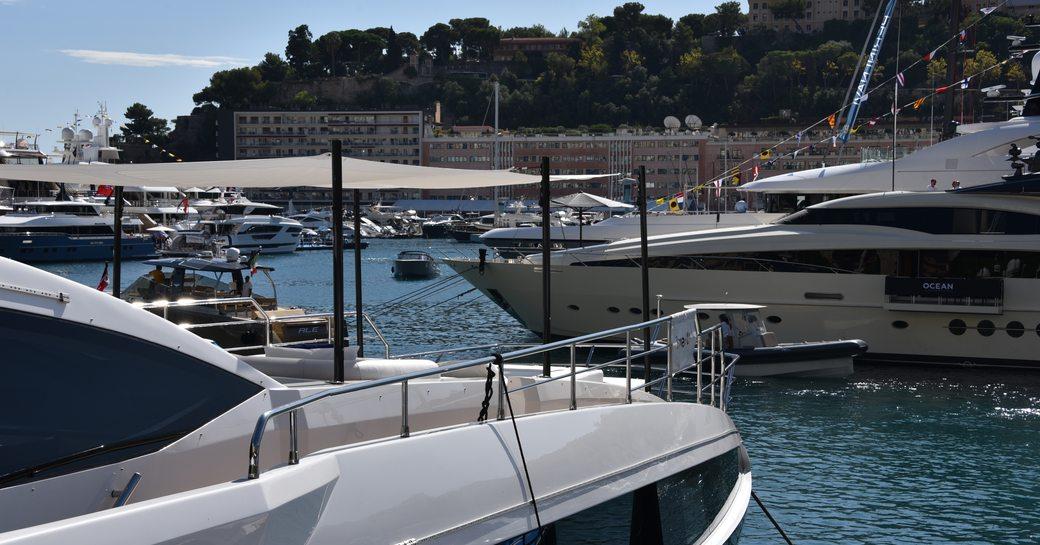 luxury yachts in port hercules for monaco yacht show 2019