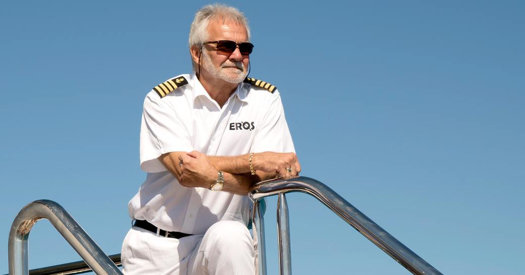 Captain Lee Rosbach on deck of Eros Yacht