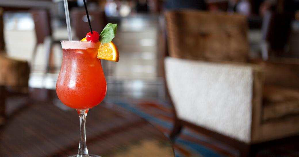 delicious bahama mama cocktail in lucury yacht club in the Bahamas