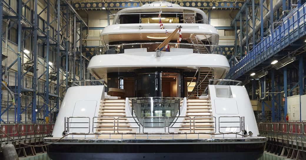 The aft of Feadship superyacht HASNA
