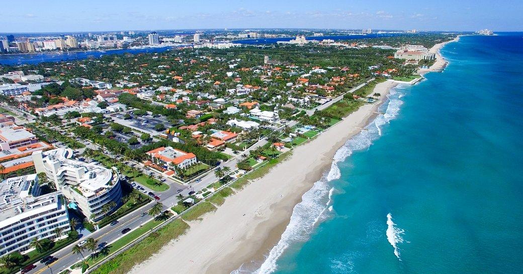 Aerial view of Palm Beach coastline
