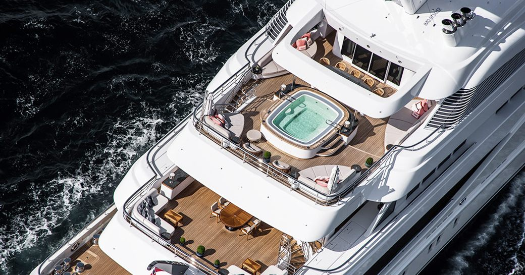 Aerial shot of luxury yacht ARETI with jacuzzi on sun deck