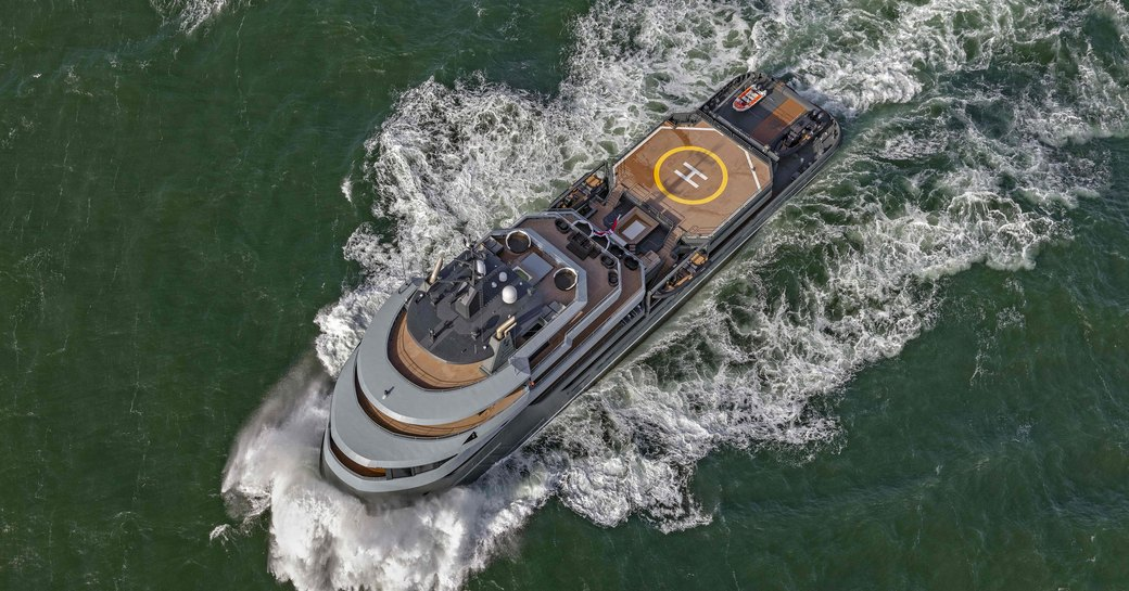 luxury yacht ragnar aerial view of yacht