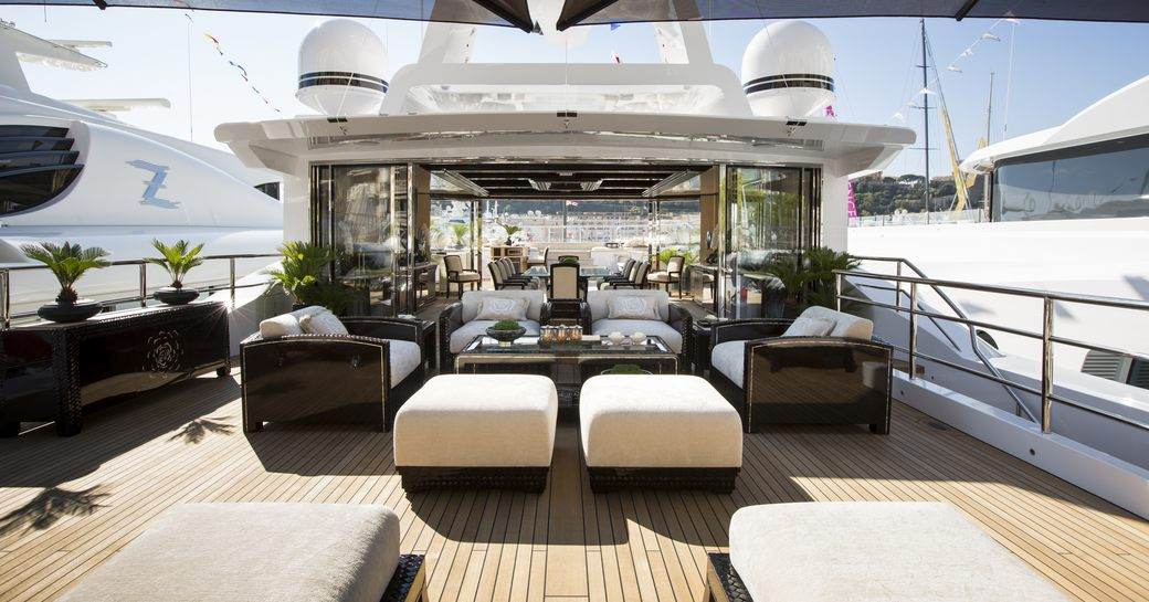 M/Y Illusion V's beautifully styled outdoor areas