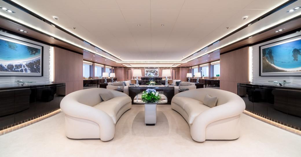 The main salon of superyacht O'PTASIA