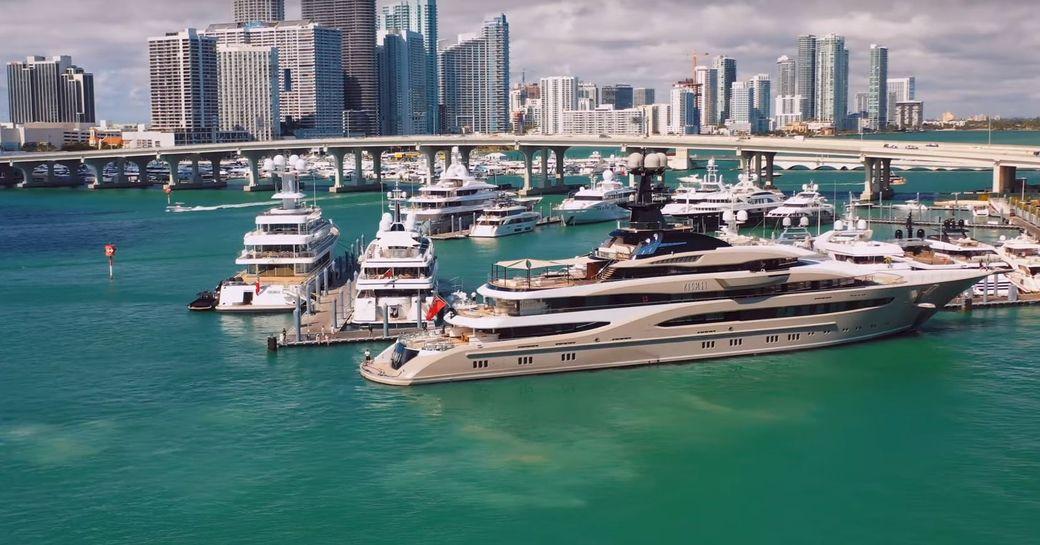 lurssen superyacht kismet docking in miami